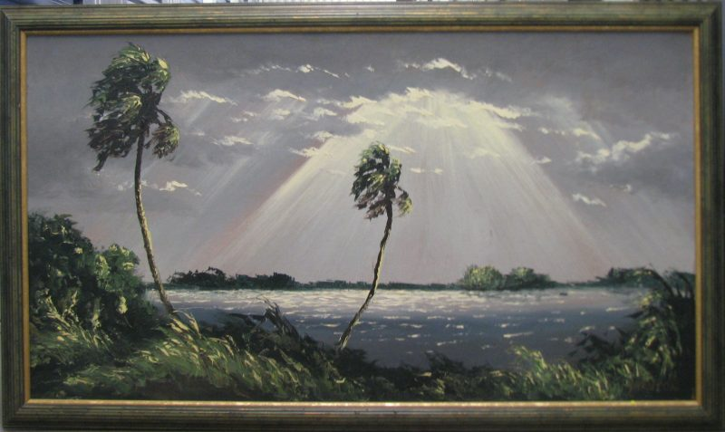 Harold Newton, (1934-1994), Rays From on High, Oil on Masonite, 61x112cm, (Image), 71x122cm (Framed), 1967, Signed.