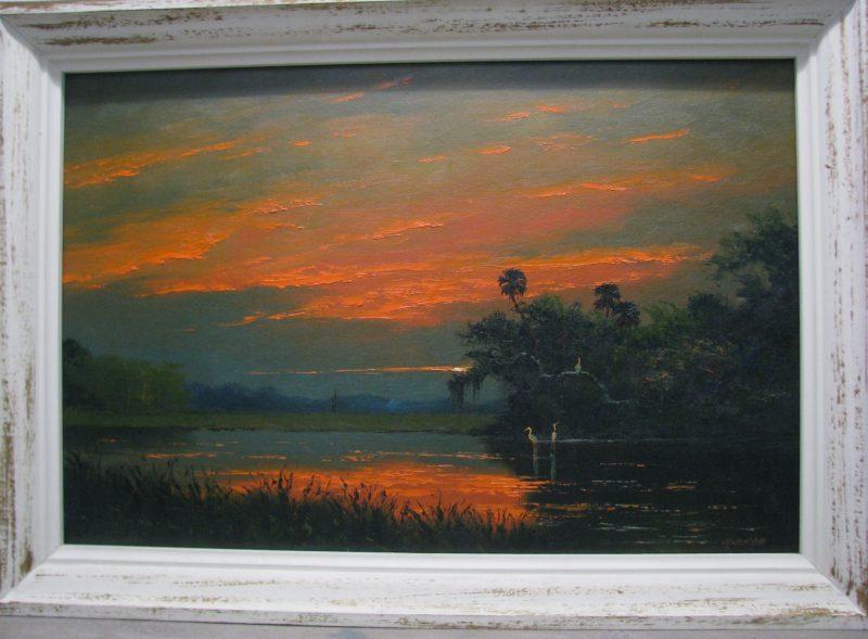 Harold Newton (1934-1994), Sky Ablaze, Oil on Upson Board, 61x92cm (Image), 73x104cm (Framed), 1975, Signed.
