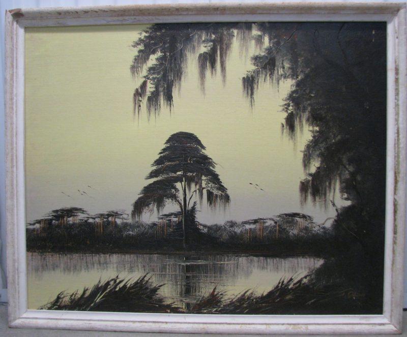 James Gibson (Born 1938), Monochrome Savanah, Oil on Upson Board, 76x92cm (Image), 85x101cm (Framed) 1968, Signed.