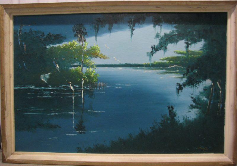 Johnny 'Hook' Daniels, (1954-2009), Old Man River, Oil on Upson Board, 61x92cm, (Image), 71x102cm, (Framed), 1969 Signed.