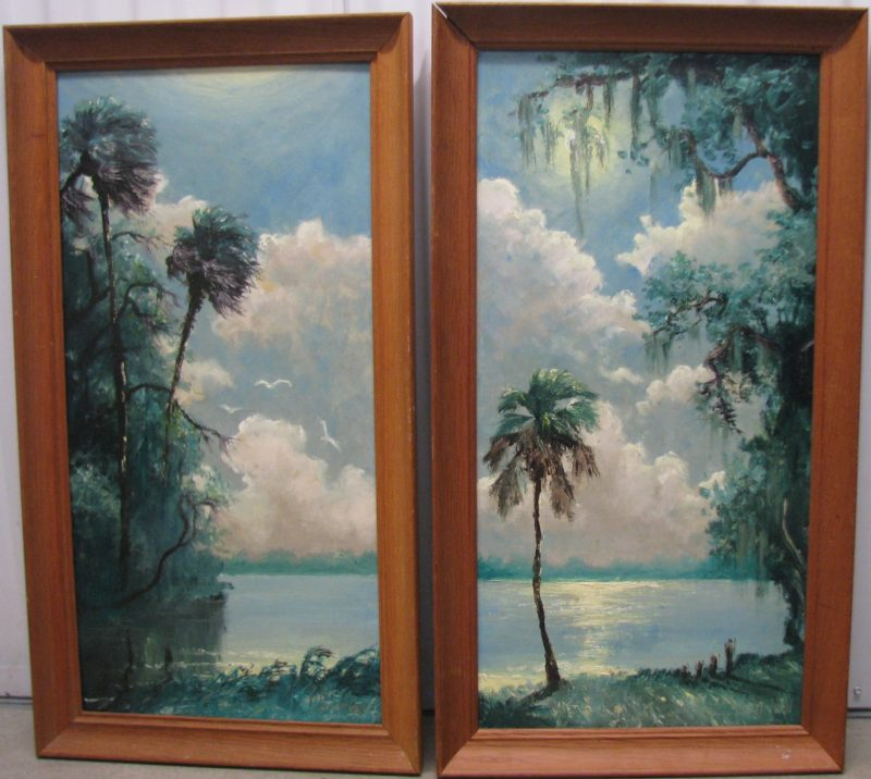 Lemuel 'Lem' Newton, (1950-2013), Indian River, (Dyptych), Oil On Masonite, 46x61cm, (Each Image), 56x71cm (Each Framed), 1995, Signed. (Part of the Private Collection of Tony Hayton, but not presented in the exhibition)