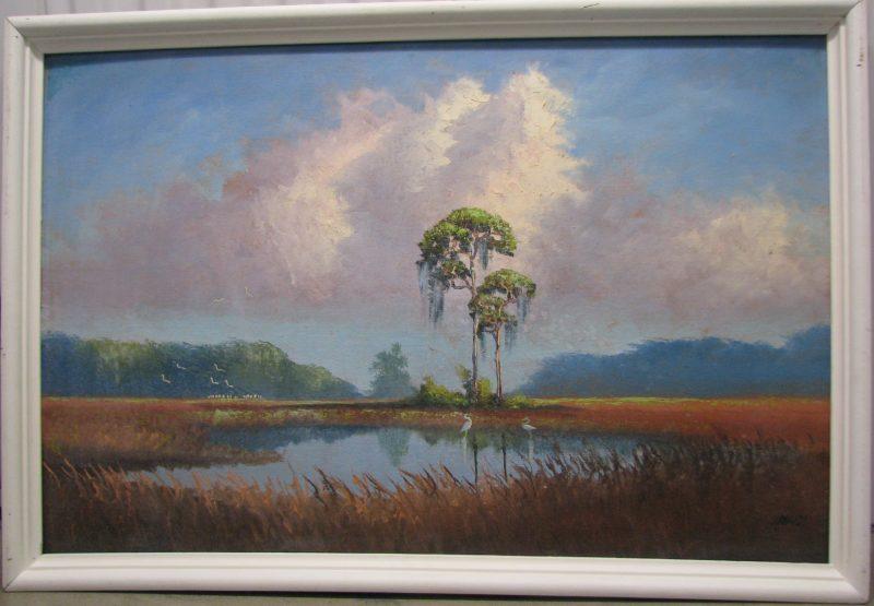 Livingston 'Castro' Roberts, (1941-2004), Savanah Pine Stand, Oil On Upson Board, 61x92cm (Image), 70x101cm (Framed), 1968, Signed.