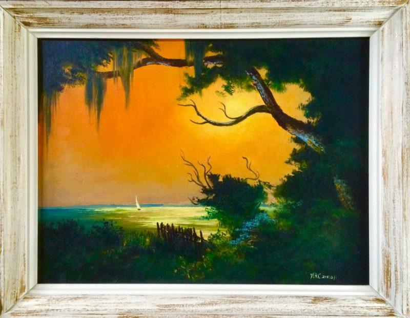Mary Ann Carroll, (Born 1940), Sailing Under A Burning Sky, Oil On Upson Board, 61x81cm, (Image), 71x91cm, (Framed), 1965, Signed.