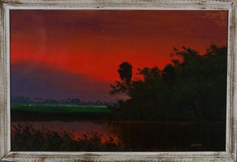 Sam Newton (Born 1948), Firesky #1, Oil on Upson, 61x92cm (Image) 70x101cm (Framed), 1967, Signed.