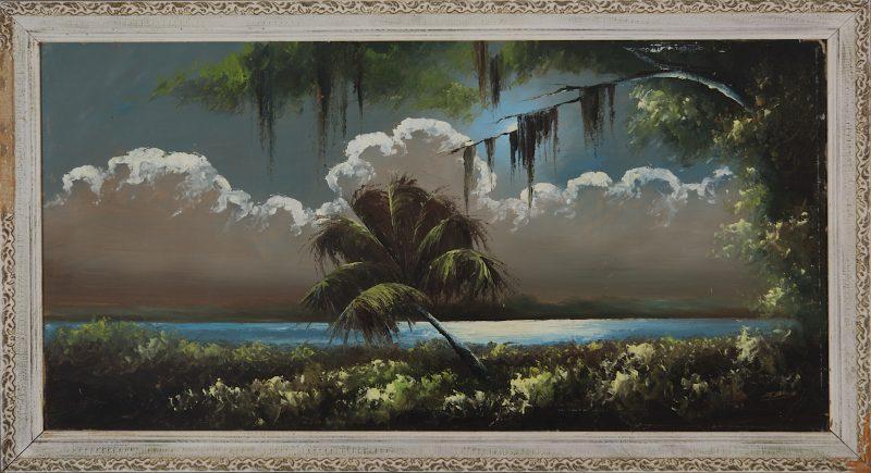 James Gibson (Born 1938), Moonlit Palm, Oil on Upson Board, 61x122cm (Image), 71x132cm (Framed), 1966, Signed.