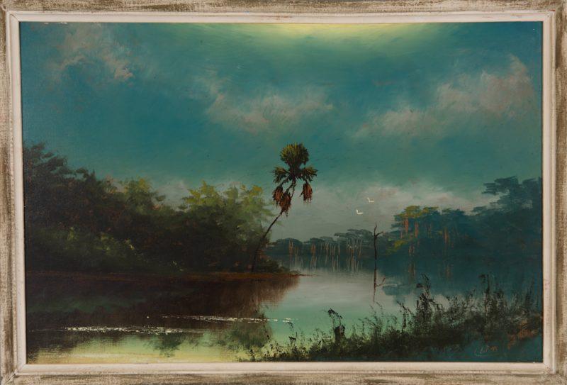 Lemuel 'Lem' Newton, (1950-2014), Misty River, Oil On Upson Board, 61x92cm, (Image), 70x101cm , (Framed), 1968, Signed.