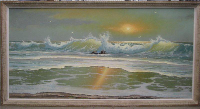 Sam Newton (Born 1948), Beach Sunrise, Oil on Upson Board, 61x122cm (Image), 69x130cm (Framed), 1975, Signed.