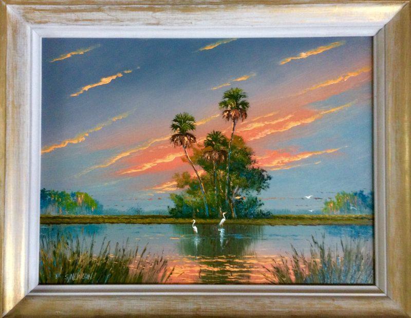 Sam Newton (Born 1948), Firesky #5, Oil On Upson Board, 60x46cm, (Image), 70x54cm (Framed), 2002, Signed.