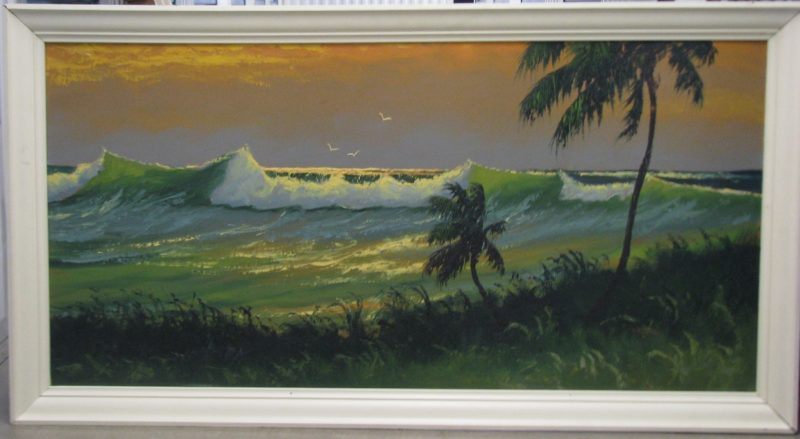 Sam Newton (Born 1948), Sunrise Surf, Oil on Upson Board, 61x122cm (Image), 72x133cm (Framed), 1969, Signed.