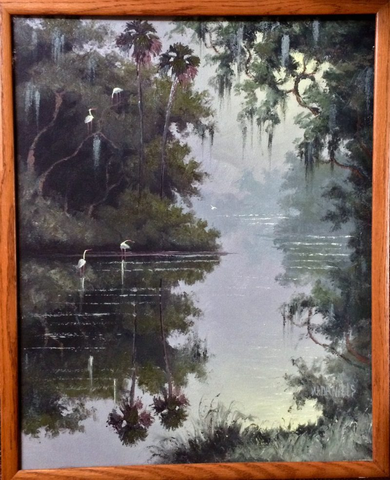 Willie Daniels (Born 1950), Still Waters, Oil On Canvas, 41x51cm (Image), 44x54cm, (Framed), 1995, Signed.