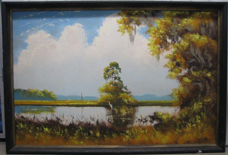 Willie Daniels, (Born 1950), Untitled #3, Oil on Upson, Board, 61x92cm (Image), 70x101cm (Framed), 1970, Signed.