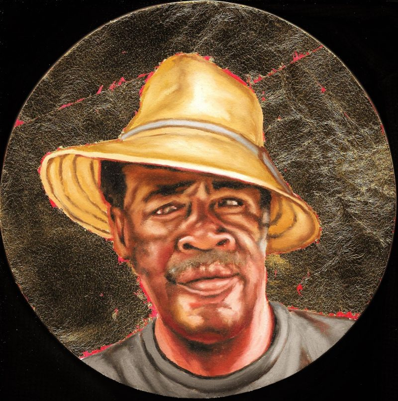 Willie Daniels, Florida Highwaymen custom painted by Peter Shmelzer (Ottawa, Canada). Oil & gold leaf on wood panel, 8 inch in diameter, 2016.