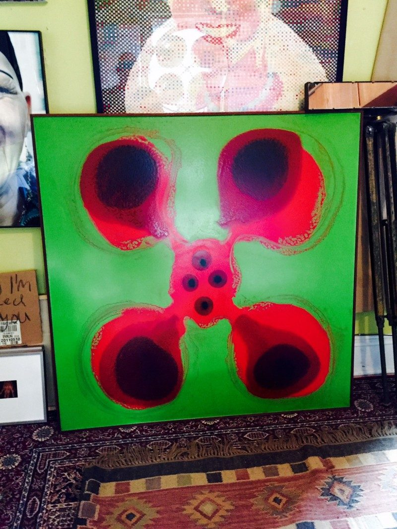 SOLD.  FOUNDDESIGN / Art (Arthur) Price, (1918-2008), Ottawa, Canada. Flower Power #2, 48 x 48 inches, Pour-cast Polyester, Resin and other Materials on Wood Base, Originally framed/mounted by the artist, 1970's. Some visible cracking to artwork.