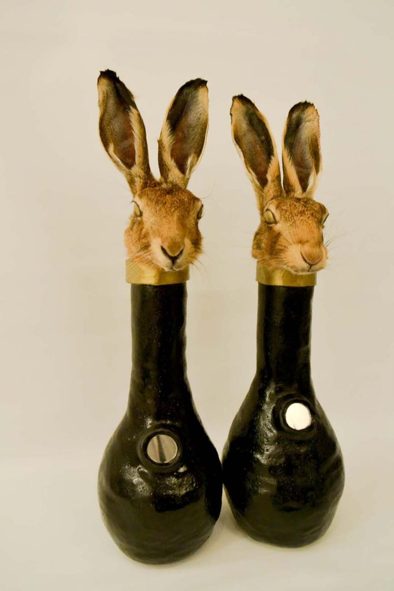 Rowan Corkill (London, England), Tricksters, 2016, Taxidermy Hare Heads, Ceramic Vases. Specific Commission for The Riviera, curated by LPM Projects.