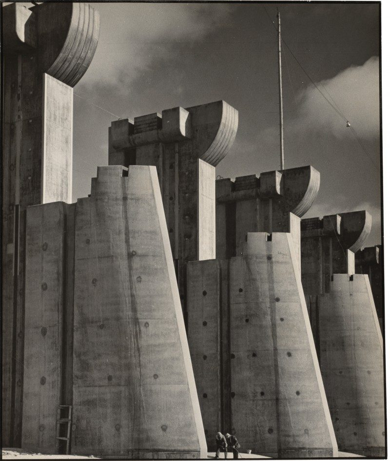 Margaret Bourke-White (New York, USA: 1904-1971), Fort Peck Dam, Montana, 7 x 9 inches, 1936 First Issue of Life Magazine, 1936. Written on verso: 'La diga di Fort Peck, Montana' 1936, Unframed. Unsigned, Provenance: Acquired through Grazia Neri Gallery, Milan - an agency founded in 1966 which expanded to include a gallery in Milan as well as the organization of photography exhibitions across Italy. Curated by LPM Projects for The Riviera.
