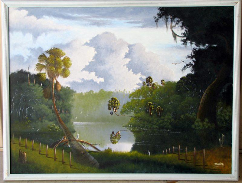 Johnny Daniels, (1954-2009), Morning River Mist, Oil on Canvas, 92 x 122cm, (Image), 102 x132cm, (Framed), 1998, Signed.