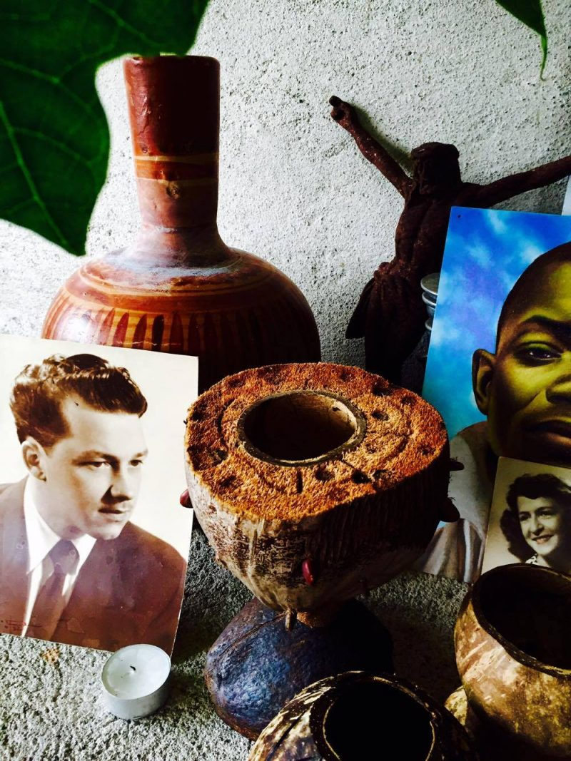 Custom made 'religious chalice' made of coconuts, along with small vessels, made by local artisan Victor M. Lopez Mariscal (Works at corner of Jacarandas & Francisca Rodriguez streets, Puerta Vallarta, Mexico). Vintage photograph: Portrait of Leon Berube, my Father (lower left) & Portait of my Mother, Lucille Des-Roberts (lower right). 'All Saints' Shrine Installation by LPM Projects along with local participants. Commissioned for the Day of the Dead Celebrations in Puerto Vallarta, Mexico.