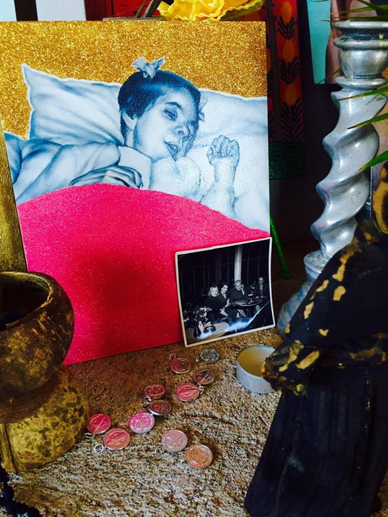 Vintage Photograph: Maryke McCarron, 1950's, center, in full killer Hollywood  smile. 'All Saints' Shrine Installation by LPM Projects along with local participants. Commissioned for the Day of the Dead Celebrations in Puerto Vallarta, Mexico.