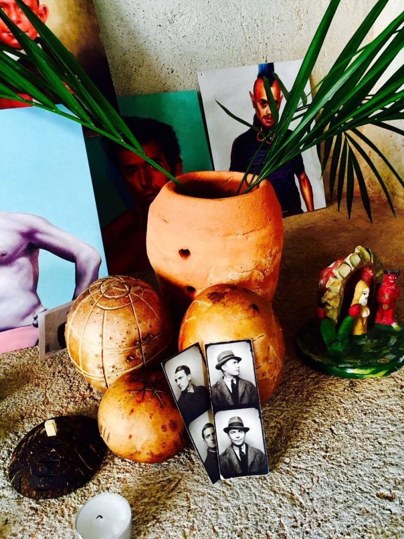 Custom made 'religious chalice' made of coconut, along with small vessels, made by local artisan Victor M. Lopez Mariscal (Works at corner of Jacarandas & Francisca Rodriguez streets, Puerta Vallarta, Mexico). Vintage photo booth photographs: (bottom) Anonymous lovers, 1940's (New York, USA).
