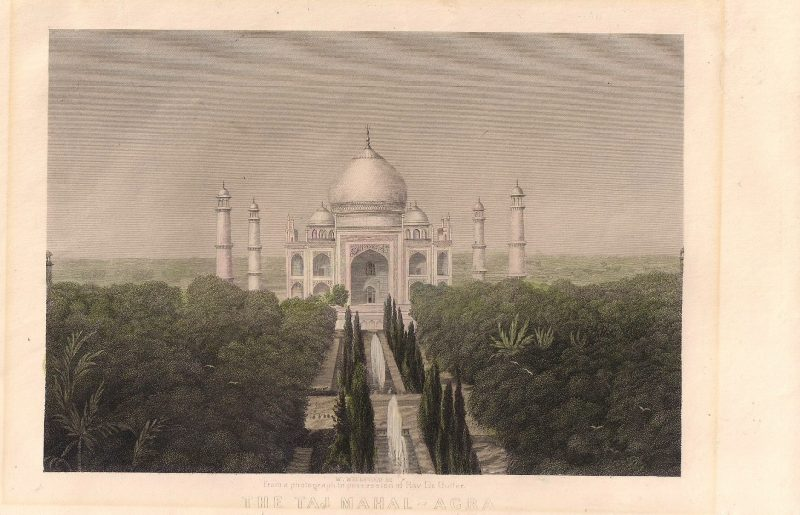 William Wellstood (Also Known as: W. Wellstood Born: Edinburgh, Scotland 1819. Died: New York, New York 1900). Rare Vintage Engraving, 'W. Wellstood Sc. From a photograph in possession of Rav Dr. Butler. The Taj Mahal-Acra'.  George Butler (1774–1853) was an English schoolmaster and divine, headmaster of Harrow School from 1805 to 1829. 6 x 9.5 inches. $85