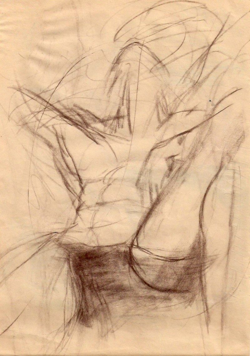 Untitled, Artist Unknown, Date Unknown, Approx. 1950's. Conte on paper, 8 x 11.5 inches, $45.