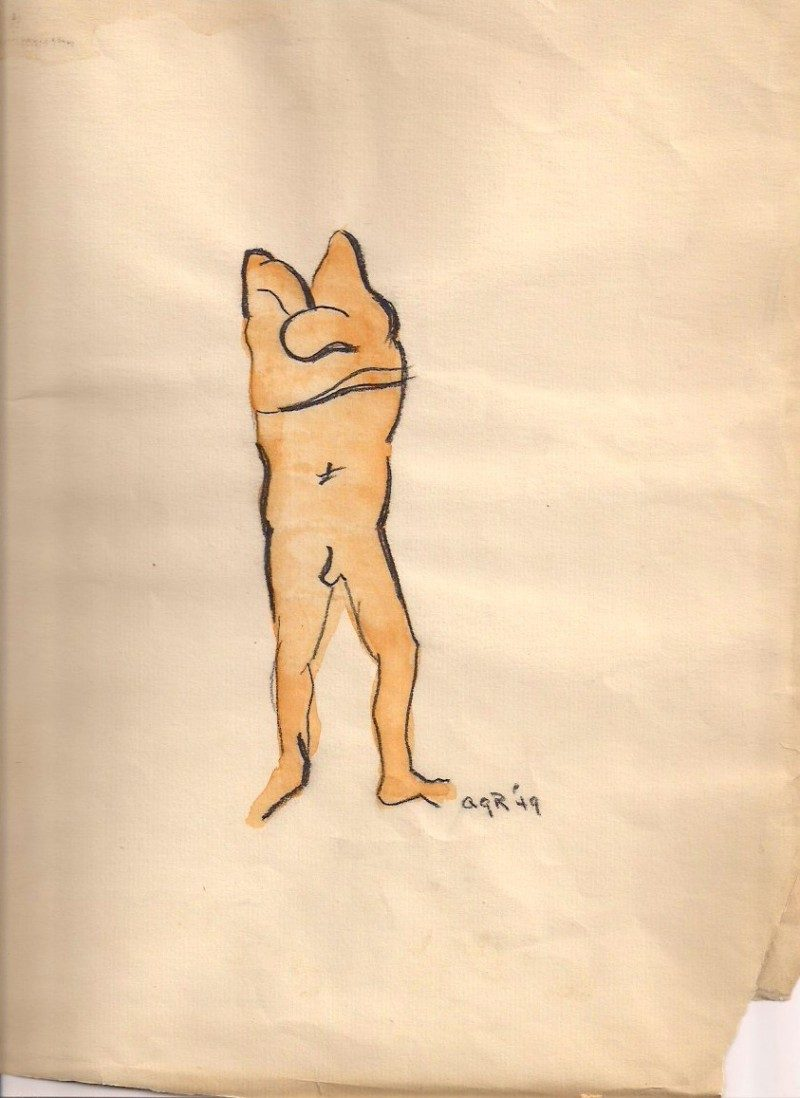 Unknown artist, watercolor & charcoal on vintage paper with some wear, Signed initials 'AGR '49', 9 x 12 inches, 1949, $200.