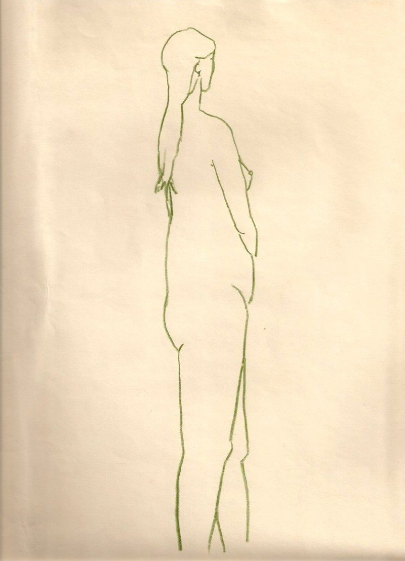 Jerrold Davis, Nude, 1959,  Green pencil on paper, 9 x 12 inches, signed and dated on verso by artist, $250.