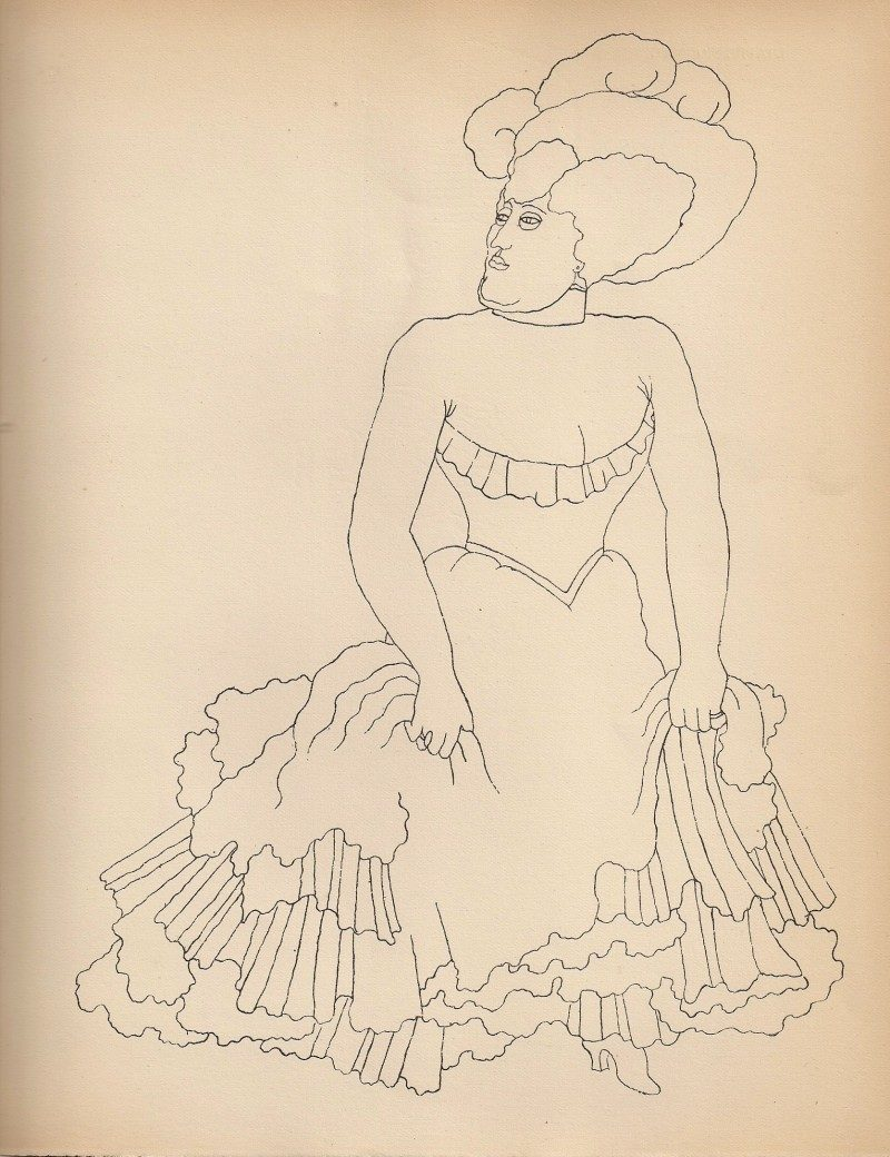 Jean Cocteau, Woman in Fancy Dress, Rare Print from Original 1923 Limited Edition Publication entitled 'Jean Cocteau: Dessins' (Librairie Stock, Delamain, Boutelleau et Cie, Paris). From Book Originally Hand Signed By Cocteau to Georges Prade, 1923. Acquired in New York City from Private Collection. 9 x 11 inches. $225 each.