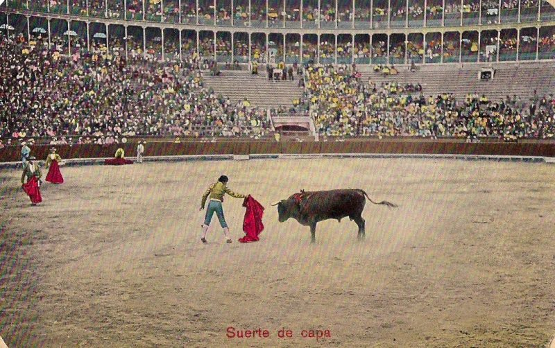 Original Vintage Spanish Postcard of Bull Fighter / Matador 'Suerte de Capa' (translation: stage of a bullfight where passes are made with the cape), Purchased in Madrid. 3.5 x 5.5 inches, $15.