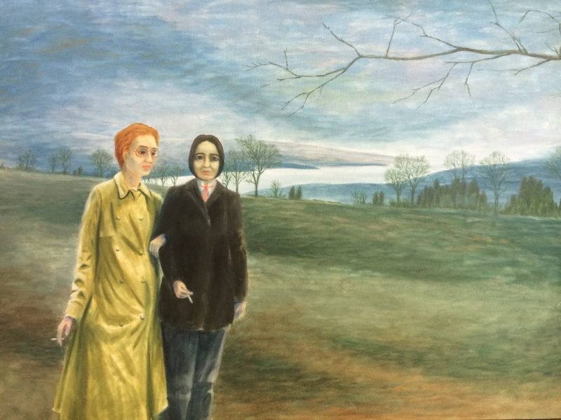 Arthur 'Art' Price (1928-2008), Ottawa, Canada. 'Alimony Hostages / Two Sisters', 1978, Acrylic on Canvas, 30 x 42 inches with wood frame. $1200.