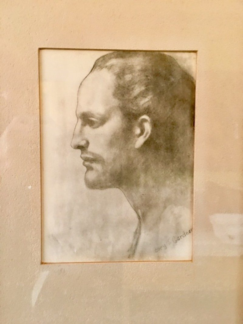 Gardner Portrait Drawing. Signed & incribed 'Copy T. Gardner'. Have researched but cannot find artist nor more info. Date & origin unknown. Purchased in antique shop in New York in mid 90's. Measure 9 widht x 11 width / inches  with frame. Back of frame has sticker: 'Victor Doyle Framing / San Diego, Calif.' $150.