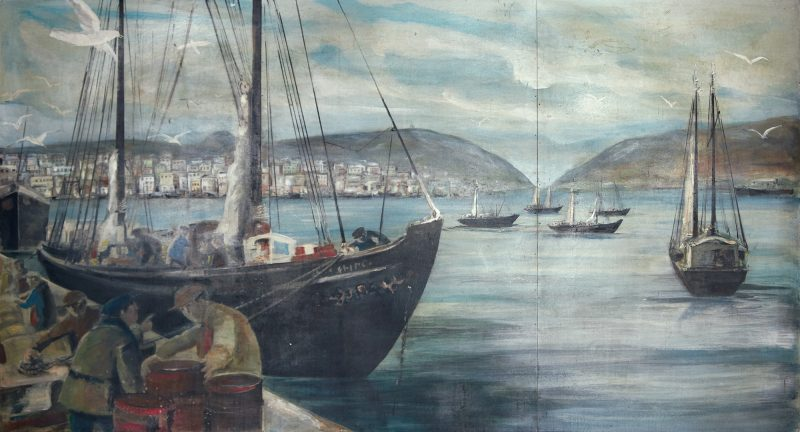 Canadian School (Unknown Artist), St. John's Harbour, Oil on three panels, 63.25 x 116.5 ins ( 160.7 x 295.9 cms ), Estimated: $2,000.00 - $3,000.00