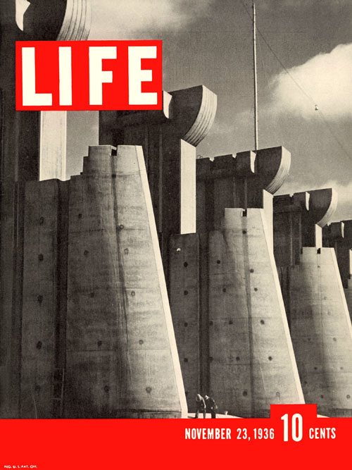 Margaret Bourke-White (New York, USA: 1904-1971), Fort Peck Dam, Montana, 7 x 9 inches, 1936 First Issue of Life Magazine, 1936. (Not an item for sale. Reference only).