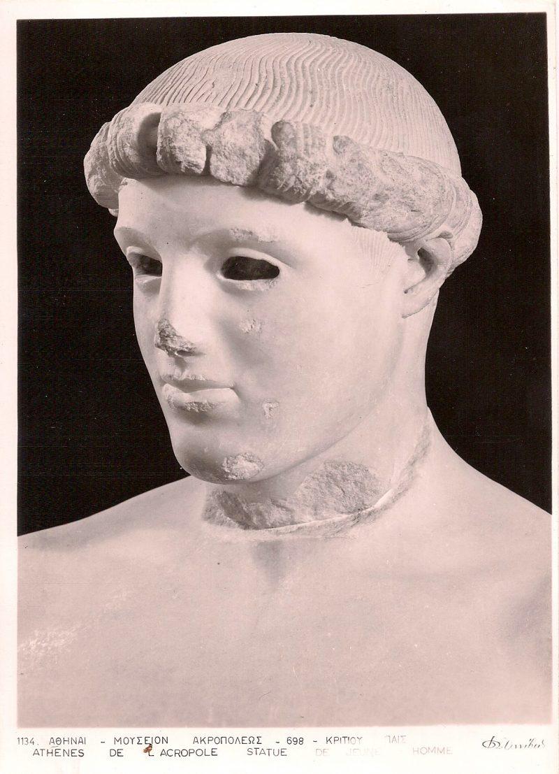 Athene de l'Acropole - Statue de l'Homme. Authentic Vintage Photographic Postcard, 1940-50's, Measures 4.5 x 5 inches (card sizes vary), Mild to no aging, $10.