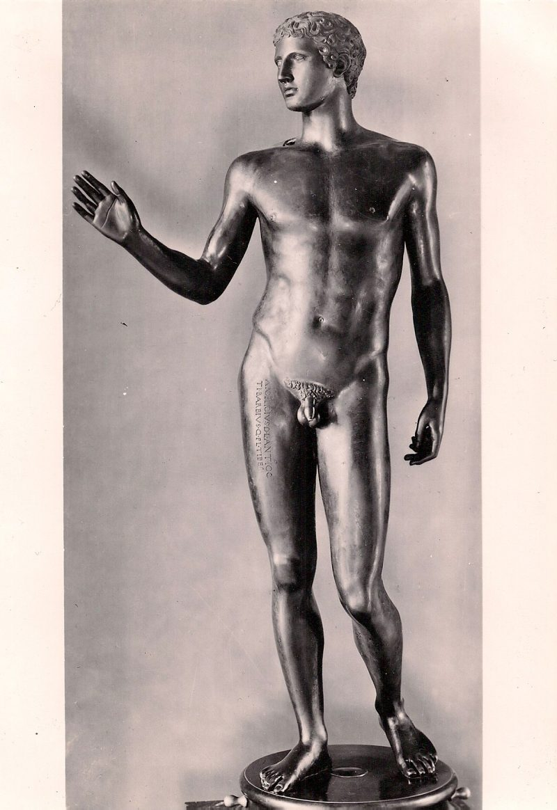 Bronze Statue. Authentic Vintage Photographic Postcard, 1940-50's, Measures 4.5 x 5 inches (card sizes vary), Mild to no aging, $10.