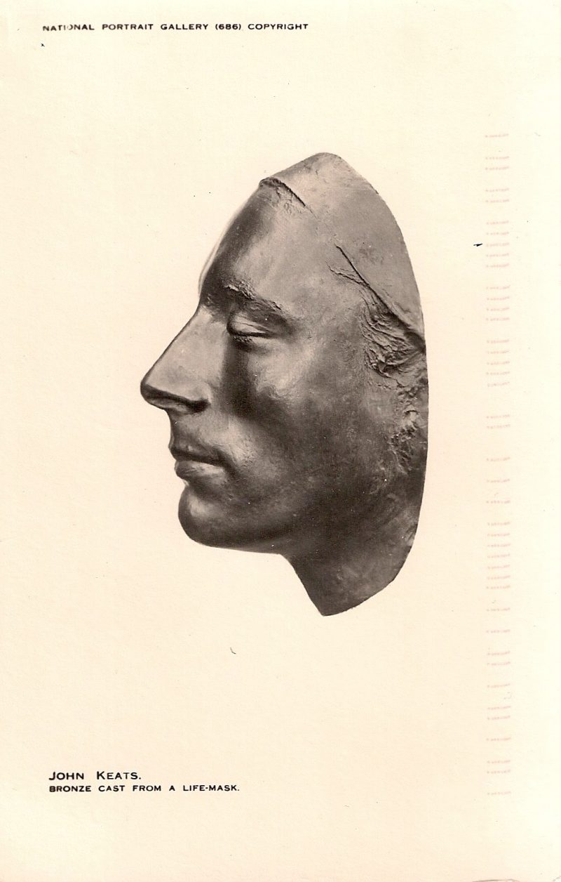 John Keats, Bronze Cast from a Life Mask. National Portrait Gallery. Handritten note on verso. Authentic Vintage Photographic Postcard, 1940-50's, Measures 4.5 x 5 inches (card sizes vary), Mild to no aging, $10.