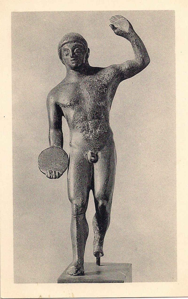 Statuette of a Discus Thrower, Bronze, 480 BC. Museum of Fine Arts, Boston. Authentic Vintage Photographic Postcard, 1940-50's, Measures 4.5 x 5 inches (card sizes vary), Mild to no aging, $10.
