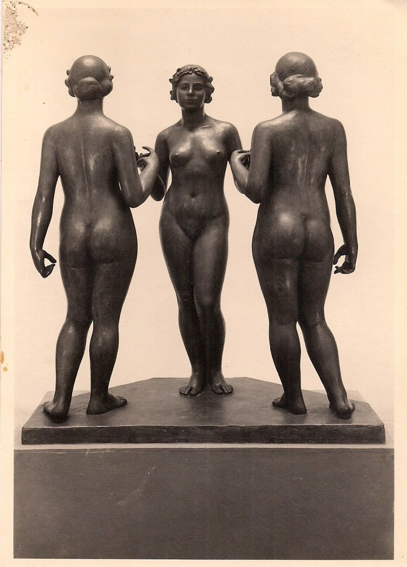 Les Trois Nymphes, Aristide Maillol (1861-1944), Berner Kunst Museum. Authentic Vintage Photographic Postcard, 1940-50's, Measures 4.5 x 5 inches (card sizes vary), Mild to no aging, $10.