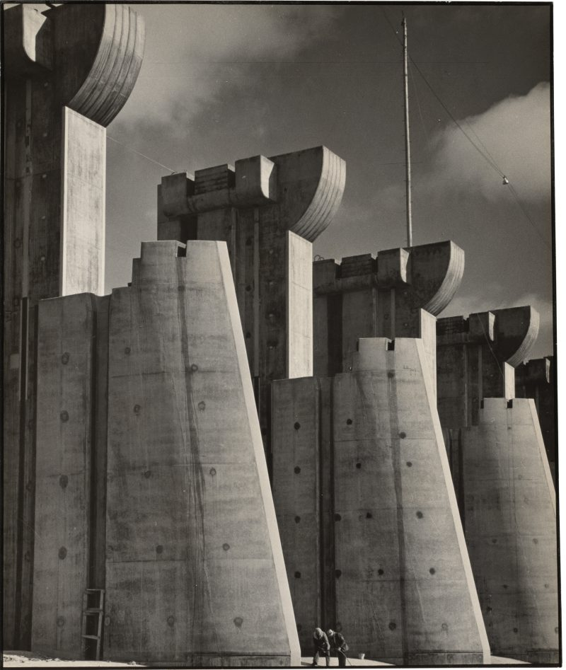 Margaret Bourke-White (New York, USA: 1904-1971), Fort Peck Dam, Montana, 7 x 9 inches, 1936 First Issue of Life Magazine, 1936. Written on verso: 'La diga di Fort Peck, Montana' 1936, Unframed. Unsigned, Provenance: Acquired through Grazia Neri Gallery, Milan - an agency founded in 1966 which expanded to include a gallery in Milan as well as the organization of photography exhibitions across Italy. $1850.