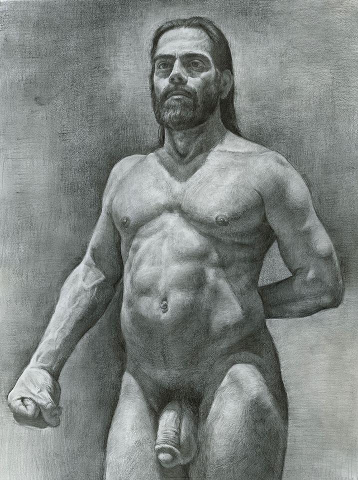 Naruki Kukita (New York USA), Man's Head, 16 x 20 inches approx. Graphite on Paper, 2014. USD$800.