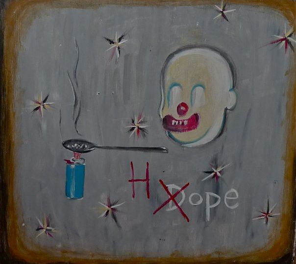 Scooter LaForge (New York, USA), Painting on Wood Panel. Originally the front of the bar at La Petite Mort Gallery. (Only the front wood panel remains now). Designed & commissioned in 2010, entitled 'Hope, Not Dope'. Made specifically for LPM Gallery, based on the harshness of the neighbourhood of the gallery, at the time. Private Collection of Guy Berube..