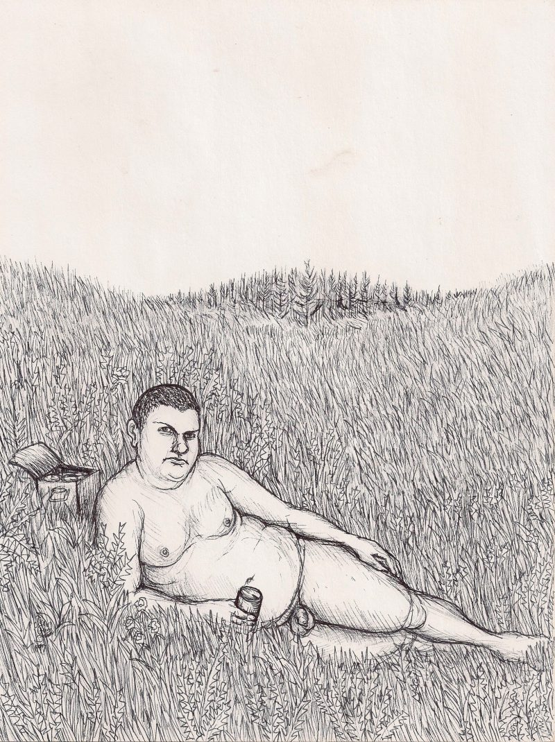 Jean-Guy, From the series 'Queens', Original Ink on Paper,  8 x 10 inches approx., signed 'Jean-Guy 1999', $200.