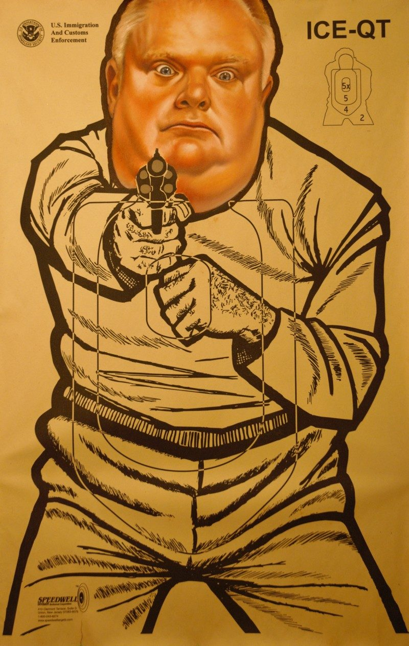Rob Ford, by Peter Shmelzer, 22 x 35 inches,  Oil on vintage shooting range poster, 2014, $850.