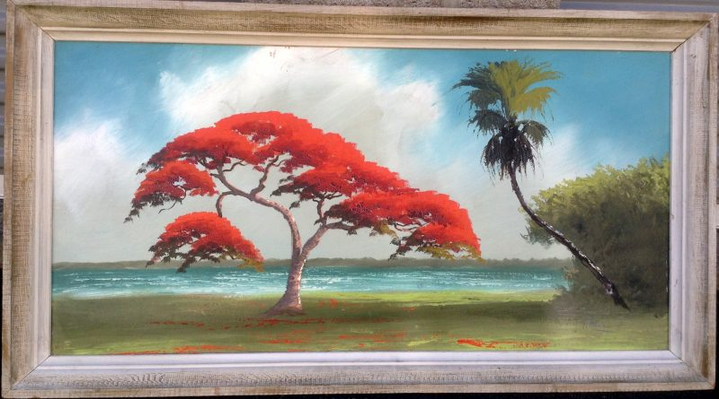 Alfred Hair (1941-1970), Royal Poinciana Tree, Oil On Upson Board, 61 X 122cm, Image, 80 X 141cm, Framed, 1962. Signed. On Loan To 'Art In The Embassies'.
