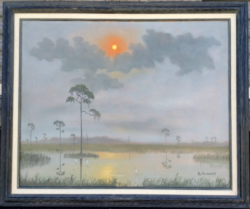 Ellis Buckner (1943-1991), Misty Everglade Sunrise, Oil On Canvas, 61 X 76cm (Image), 80 X 95cm, (Framed), 1970, Signed.