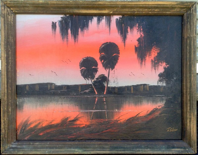 James Gibson (Born 1938), Devil Palms In a Red Sky, Oil On Upson Board, 57 X 74cm (Image), 76 X 93cm (Framed) 1965, Signed.