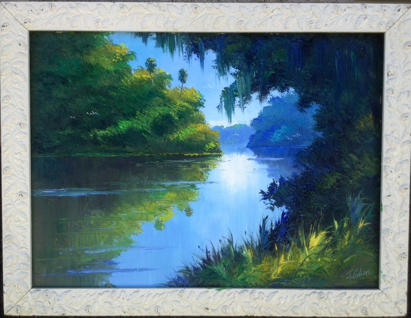 James Gibson (Born 1938), Verdant Shores, Oil On Masonite, 49 X 67cm (Image), 67 X 85cm (Framed), 1978, Signed.