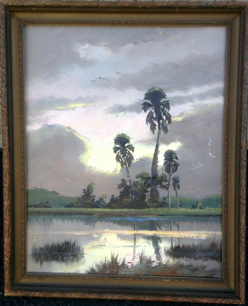 James Gibson,  Sunrise Palms, Oil On Canvas, 41 X 51cm (Image), 56 X 66cm (Framed), 1968, Signed.