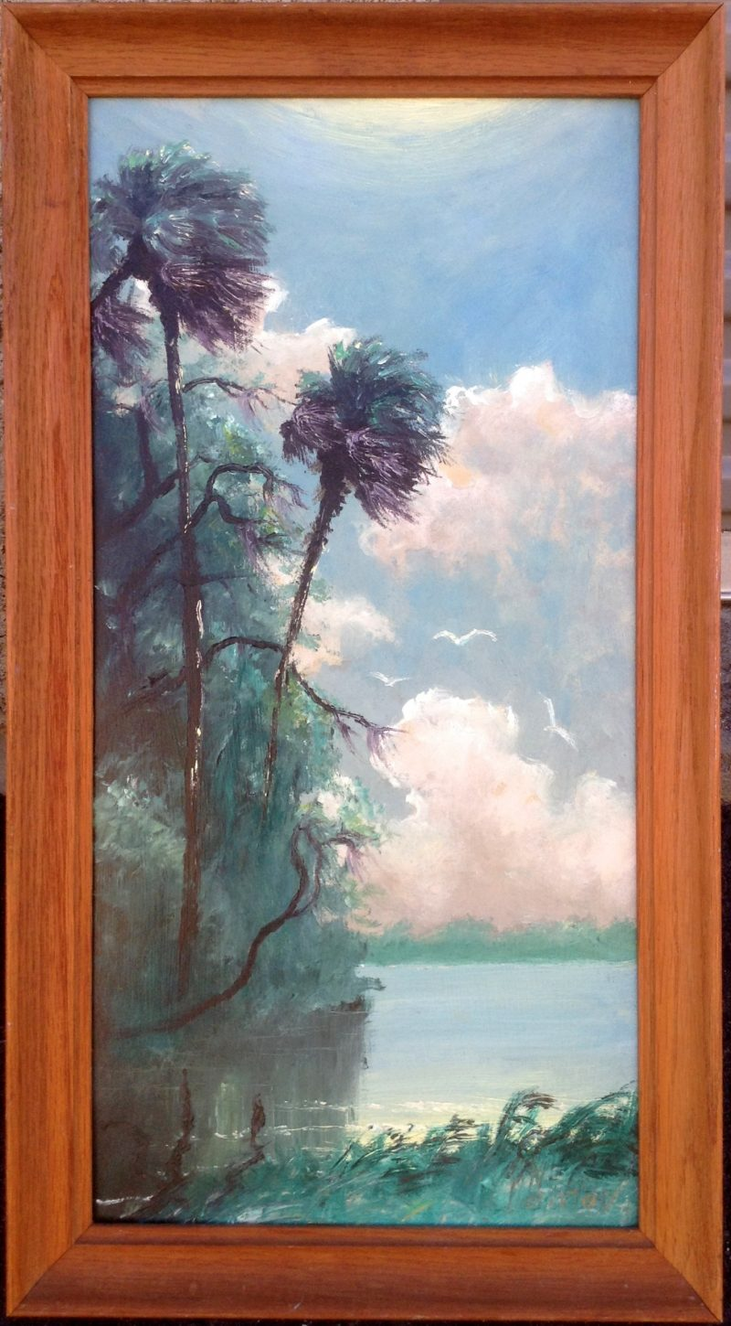 Lem Newton (1950-2014), Palms By Indian River #1, Oil On Masonite, 30 X 61cm (Image), 45 X 76cm (Framed), 1990, Signed.