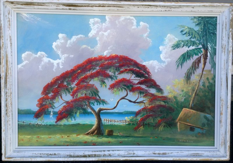 Lemuel 'Lem' Newton (1950-2014), Flamboyant Royal Poinciana Tree, Oil On Masonite, 61 X 92cm (Image), 81 X 112cm (Framed), 2005, Signed, On Loan To Art In Embassies